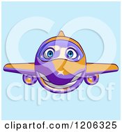 Cartoon Of A Happy Purple And Orange Airplane Mascot Flying Over Blue 2 Royalty Free Clipart