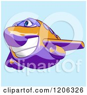 Cartoon Of A Happy Purple And Orange Airplane Mascot Flying Over Blue Royalty Free Clipart
