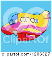 Cartoon Of A Happy Yellow Pink And Red Airplane Mascot Flying Over Blue 2 Royalty Free Clipart