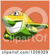 Cartoon Of A Happy Yellow And Green Airplane Mascot Flying Over Orange Royalty Free Clipart