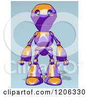 Cartoon Of A Happy Purple And Orange Robot Royalty Free Clipart