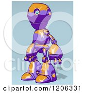 Cartoon Of A Purple And Orange Robot Facing Left Royalty Free Clipart