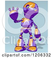 Cartoon Of A Friendly Purple And Orange Robot Waving Royalty Free Clipart