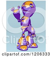 Cartoon Of A Friendly Purple And Orange Robot Waving 2 Royalty Free Clipart