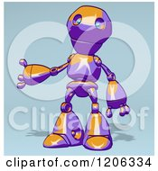 Cartoon Of A Purple And Orange Robot Presenting Royalty Free Clipart