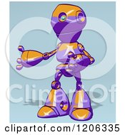Cartoon Of A Purple And Orange Robot Presenting 2 Royalty Free Clipart
