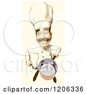 Clipart Of A Halftone Male Chef Holding Up A Pot In Vintage Sepia Tones Royalty Free Illustration