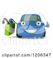 Clipart Of A 3d Blue Porsche Car Holding A Thumb Up And A Gas Can Royalty Free CGI Illustration
