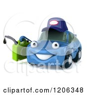 Clipart Of A 3d Blue Porsche Car Wearing A Hat And Holding A Gas Can Royalty Free CGI Illustration