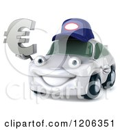 Clipart Of A 3d White Mechanic Car Holding A Euro Symbol And A Thumb Up Royalty Free CGI Illustration