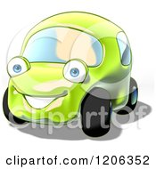 Cartoon Of A Cute Happy Green Compact Car Royalty Free Clipart by Julos