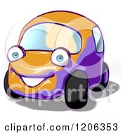 Cartoon Of A Cute Happy Compact Car Royalty Free Clipart