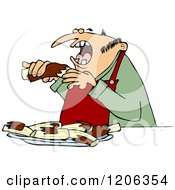 Cartoon Of A Man Eating Bbq Ribs Royalty Free Vector Clipart by djart