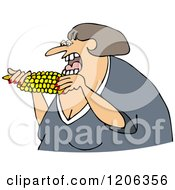 Cartoon Of A Caucasian Woman Eating Corn Royalty Free Vector Clipart by djart