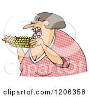Cartoon Of A Woman Eating Corn Royalty Free Clipart by djart
