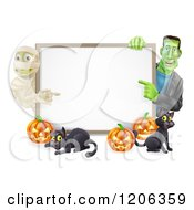 Cartoon Of A Happy Frankenstein Frankenstein Pumpkins And Black Cat Around A Blank Sign Royalty Free Vector Clipart by AtStockIllustration
