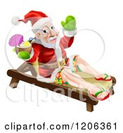Cartoon Of A Relaxed Santa Holding A Cocktail On A Beach Lounge Chair Royalty Free Vector Clipart