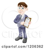 Cartoon Of A Brunette Businessman Pointing To And Holding A Clipboard Royalty Free Vector Clipart