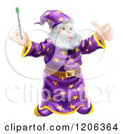 Cartoon Of A Happy Wizard Holding A Green Wand And A Thumb Up Royalty Free Vector Clipart