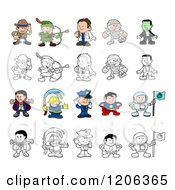 Cartoon Of Colored And Outlined People And Children In Halloween Costumes And Uniforms Royalty Free Vector Clipart by AtStockIllustration