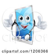 Cartoon Of A Happy Cell Phone Wearing A Stethoscope And Holding Two Thumbs Up Royalty Free Vector Clipart