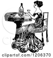 Clipart Of A Vintage Black And White Lady Drinking Wine Royalty Free Vector Illustration by Prawny Vintage