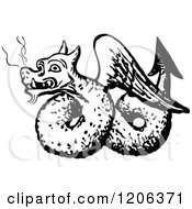 Clipart Of A Vintage Black And White Winged Dragon Royalty Free Vector Illustration by Prawny Vintage