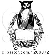 Clipart Of A Vintage Black And White Wise Owl Sign Royalty Free Vector Illustration by Prawny Vintage