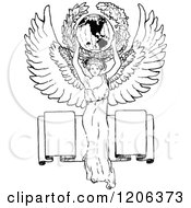 Clipart Of A Vintage Black And White Angel Holding The World Over A Banner Royalty Free Vector Illustration by Prawny Vintage