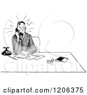 Clipart Of A Vintage Black And White Nervous Man On A Telephone Royalty Free Vector Illustration