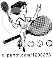 Clipart Of A Vintage Black And White Lady Playing Tennis Royalty Free Vector Illustration