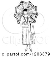 Clipart Of A Vintage Black And White Lady With An Umbrella Royalty Free Vector Illustration by Prawny Vintage