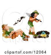 Clay Sculpture Clipart Female Archaeologist Digging Up A Pyramid And Tossing Dirt On Her Husband Royalty Free 3d Illustration
