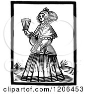 Clipart Of A Vintage Black And White Woman Holding A Fan Royalty Free Vector Illustration by Prawny Vintage