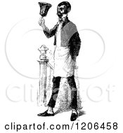 Clipart Of A Vintage Black And White Servant Ringing A Bell Royalty Free Vector Illustration by Prawny Vintage