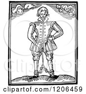 Clipart Of A Vintage Black And White Shackled Man Royalty Free Vector Illustration