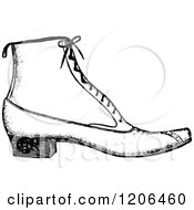 Clipart Of A Vintage Black And White Ladies Shoe Royalty Free Vector Illustration by Prawny Vintage