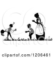 Vintage Black And White Silhouetted Mother And Boys