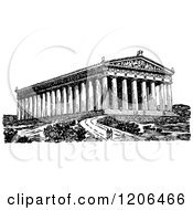 Clipart Of A Vintage Black And White Couple At The Parthenon Royalty Free Vector Illustration