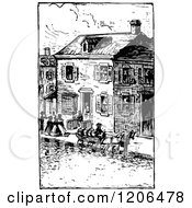 Clipart Of A Vintage Black And White Village Street Scene Royalty Free Vector Illustration