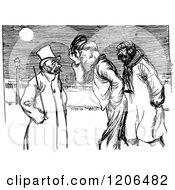 Clipart Of Vintage Black And White Salutation Men Royalty Free Vector Illustration