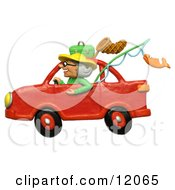 Clay Sculpture Clipart Granny Driving A Car To Go Fishing Royalty Free 3d Illustration by Amy Vangsgard