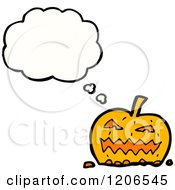 Cartoon Of A Thinking Jack O Lantern Royalty Free Vector Illustration by lineartestpilot