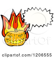 Cartoon Of A Flaming Jack O Lantern Speaking Royalty Free Vector Illustration by lineartestpilot