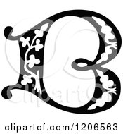 Clipart Of A Vintage Black And White Monogram B Letter Royalty Free Vector Illustration