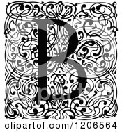 Clipart Of A Vintage Black And White Monogram B Letter Over Swirls Royalty Free Vector Illustration