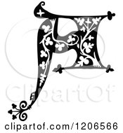 Clipart Of A Vintage Black And White Monogram A Letter Royalty Free Vector Illustration