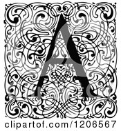 Clipart Of A Vintage Black And White Monogram A Letter Over Swirls Royalty Free Vector Illustration