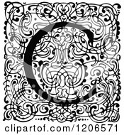 Clipart Of A Vintage Black And White Monogram C Letter Over Swirls Royalty Free Vector Illustration