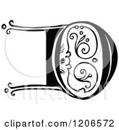 Clipart Of A Vintage Black And White Monogram D Letter Royalty Free Vector Illustration